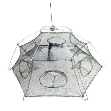 6 Side 6 Holes 100 * 100cm Large Foldable Fishing Net Trap Shrimp Cage