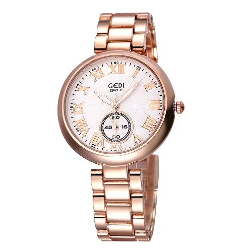 Buy GEDI 2016 New Luxury Brand Women's Quartz Watch Date Day Clock Gold Steel Ladies Fashion Casual Women Wrist Watches