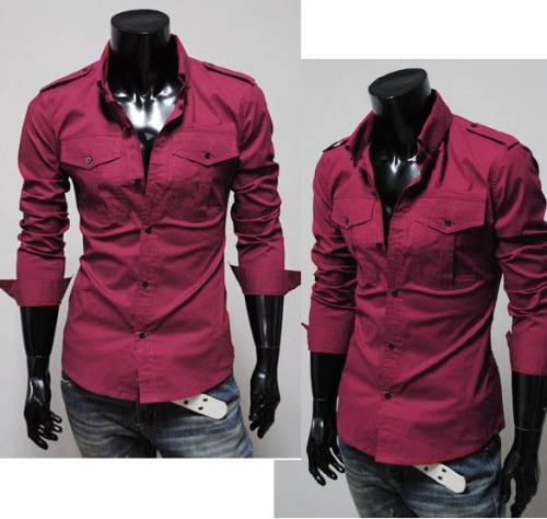 Buy Mens Luxury Stylish Casual Button-Front Long Sleeve Slim Fit Shirts 3 Colors Choice