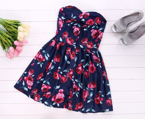Buy Stylish Lady Sexy Women's Strapless Off-Shoulder Floral Mini Pleated A-line Party Evening Dress