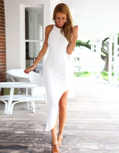 Buy Stylish Lady Women Sexy O-Neck Sundress Irregular Hem Bodycon Club Cocktail Slim Dress