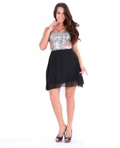 Buy Women's Shining Sequin Dress Sexy Chiffon Hit Party M/L