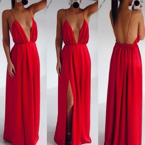 Buy Sexy Women Strap V Neck Backless Summer Maxi Party Cocktail Evening Dress