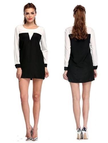 Buy Stylish Lady Sexy Women's Casual Long Sleeve O-neck Patchwork Mini Dress