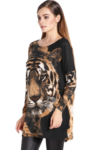 Buy Women's Fashion Long Batwing-sleeve Loose Tiger Pattern Tops Blouse T-shirt Dress