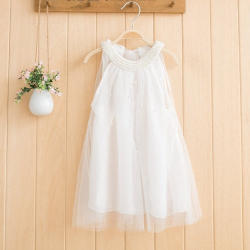 Buy Baby Kids Children Girl's Wear Sleeveless O-neck Beads Loose-fitting Fancy Dress
