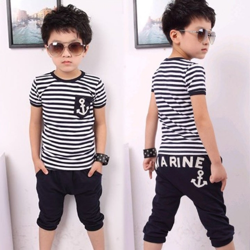 Buy Boy Kids Children New Fashion Two Pieces Summer Suit Striped Short Sleeve T-shirt Half Pants