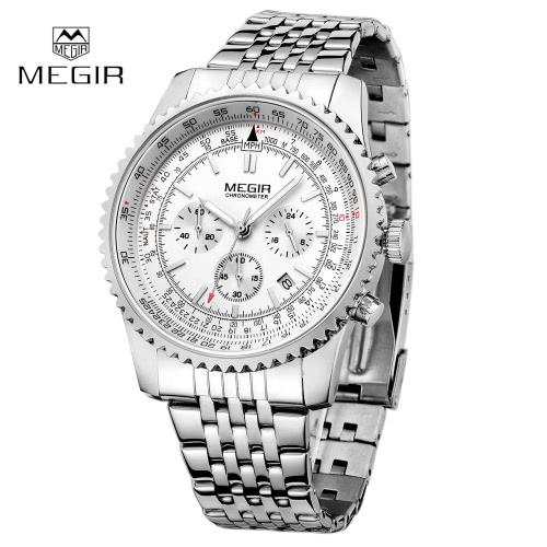 Buy MEGIR Fashion Business Watch Men Calendar Stainless Steel Wristwatch Man Quartz Watches
