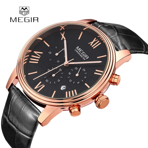 MEGIR Brand Men Genuine Leather Watch Analog Display Military Watches Date Chronograph Sport Watch от Tomtop.com INT