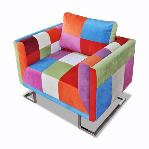 Buy Patchwork Chair + chrome feet chair reclining armrests