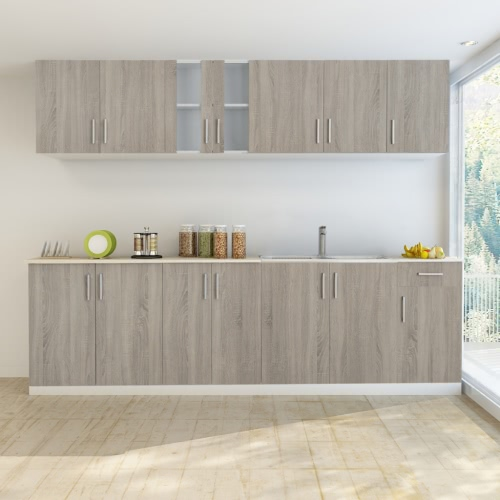 Oak Look Kitchen Cabinet with Base Unit for Sink 8 pcs от Tomtop.com INT