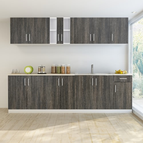Wenge Look Kitchen Cabinet with Base Unit for Sink 8 pcs от Tomtop.com INT