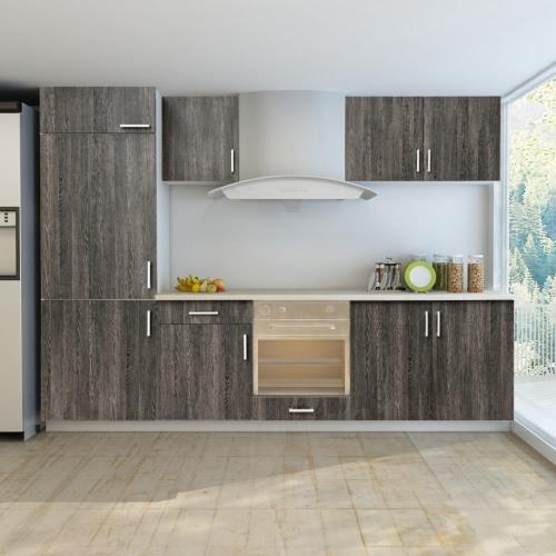 7 pcs Wenge Look Kitchen Cabinet Unit for Built-in Fridge от Tomtop.com INT