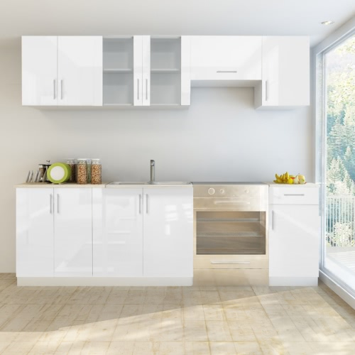 7 pcs High Gloss White Kitchen Cabinet Unit 240 cm от Tomtop.com INT
