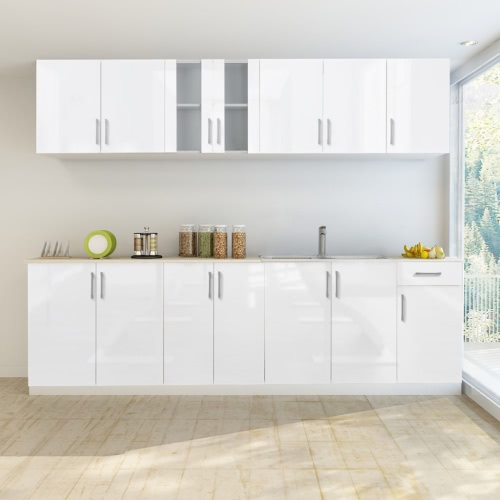 8 pcs High Gloss White Kitchen Cabinet Unit with Sink Base 260 cm от Tomtop.com INT