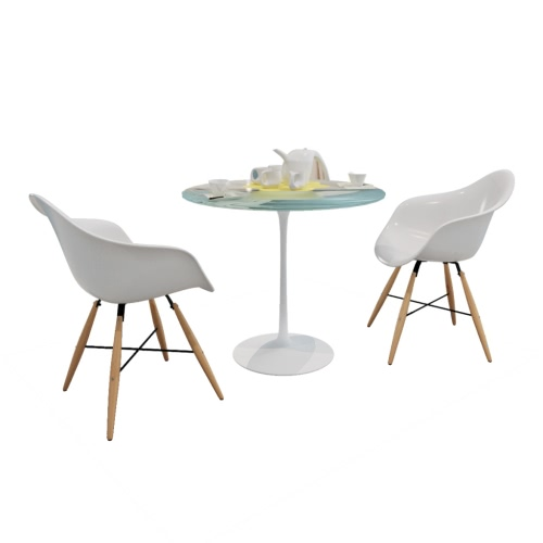 2 pcs White Dining Chair with Armrests and Beech Wood Legs от Tomtop.com INT