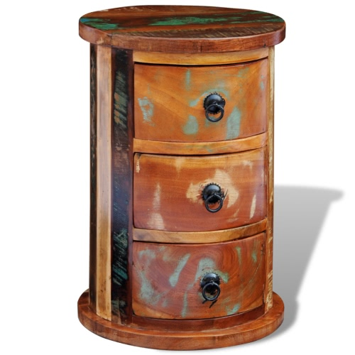 Bonificata legno solido rotonda Armadio con 3 cassetti