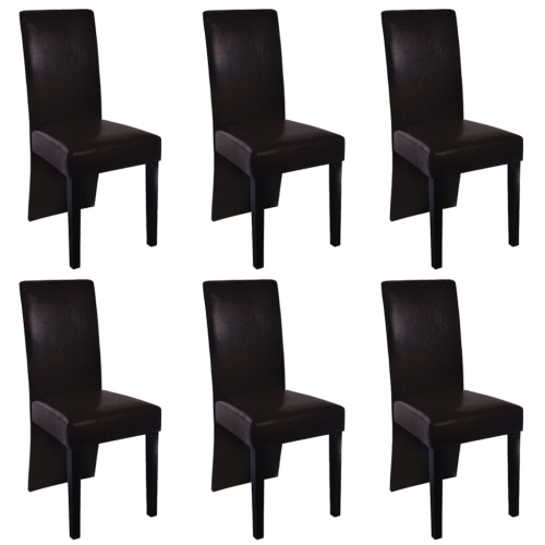 6 pcs Artificial Leather Wood Brown Dining Chair от Tomtop.com INT