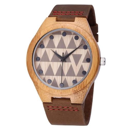 Buy Unisex Luxury Brand New Design Bamboo Wooden Watches Leader Strap Quartz Watch Best Gifts Wood Wristwatches