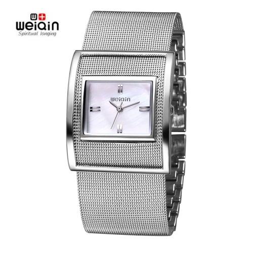 Buy WEIQIN New Famous Brand Silver Casual Quartz Watch Women Metal Mesh Full Steel Dress Watches