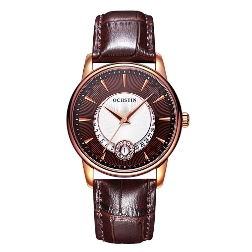 Buy OCHSTIN Brand Luxury Genuine Leather Quartz Casual Women's Watches Sapphire Fashion Unique Ladies Wristwatch + Watch Box