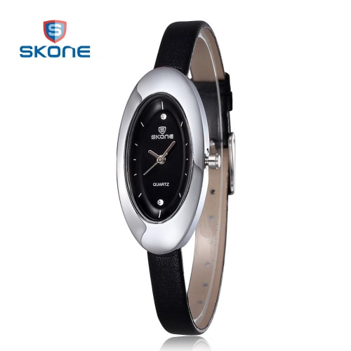 Buy SKONE Ladies Watches Women Rhinestones Oval Shape Dial Leather Band Fashion Wristwatches