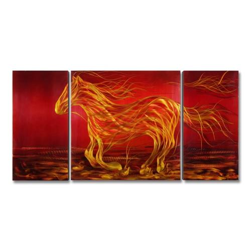 Tooarts Running Horse Современная живопись Wall Art Домашнее украшение 3 панели Red & Black & Yellow