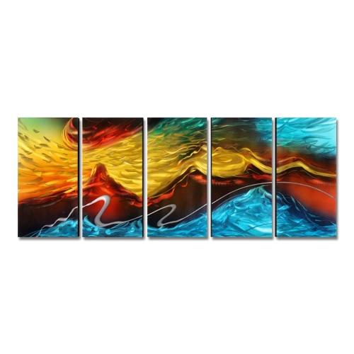 Tooarts Fire and Ice Modern Painting Абстрактное настенное искусство Домашнее украшение 5 панелей Multicolor