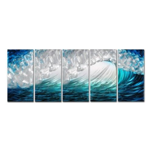 Tooarts Waves Modern Painting Wave Seascape Print Wall Art Домашнее украшение 5 панелей Blue & Green & White