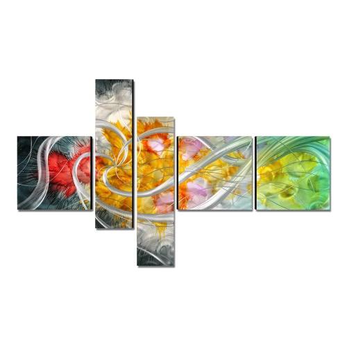 Tooarts The Flower of the Life Современная живопись Ручная роспись на стенах Домашнее украшение 5 панелей Multicolor