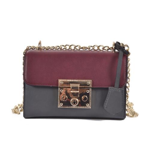 Buy Vintage Women Shoulder Bag Flap Contrast PU Leather Chain Lock Trendy Small Crossbody