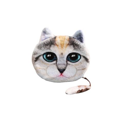 Buy Fashion Women Cute Coin Purse Cat Head Print Tail Mini Wallet Zipper Closure Small Clutch Bag