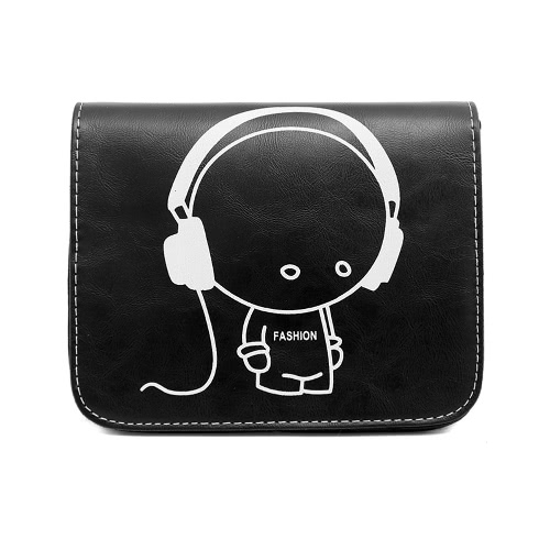 Buy Fashion Women Shoulder Bag PU Leather Cartoon Print Flap Magnetic Button Messenger Crossbody