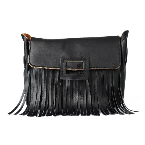 Buy Fashion Women Crossbody Bag PU Leather Flap Press Stud Tassel Solid Color Shoulder