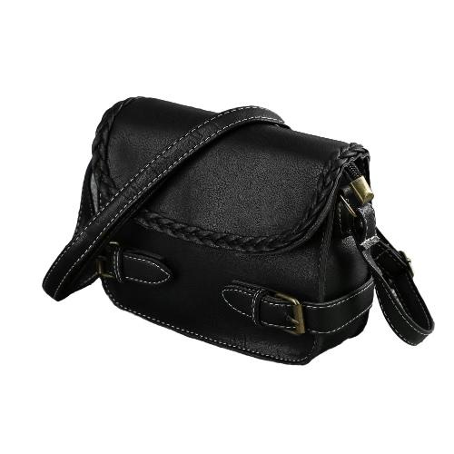 Buy Fashion Women Woven Crossbody Bag PU Leather Belt Flap Front Adjustable Strap Vintage Small Shoulder