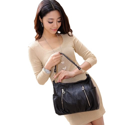Buy Fashion Women Handbag PU Leather Zipper Grad Handle Shoulder Crossbody Bag