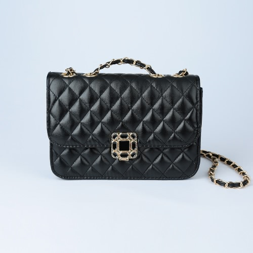 Buy Women Small Shoulder Bag Quilted Chain PU Leather Flap Front Casual Handbag Crossbody Black/White/Rose