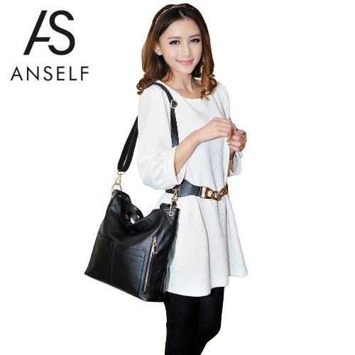 Buy Fashion Women Handbag Shoulder Bag Leather Large Capacity Multi-Pockets Casual Crossbody Messenger Tote
