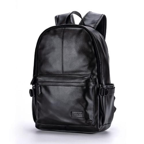 Buy Men Leather Backpack PU School Bag Laptop Hiking Travel Black/Brown
