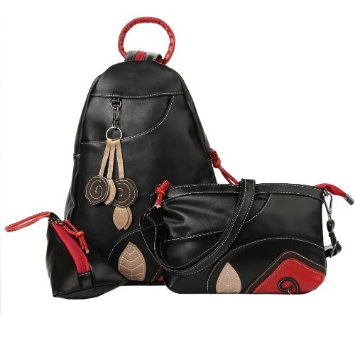 Buy Fashion Women Backpack Set PU Leather Leaf Applique Schoolbag Teenagers Girls Student Travel Bag Black