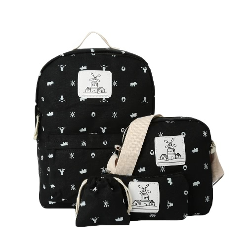 Buy Fashion Women Canvas Backpack Cartoon Windmill Pattern Contrast Print Zipper Students School Traveling Bag
