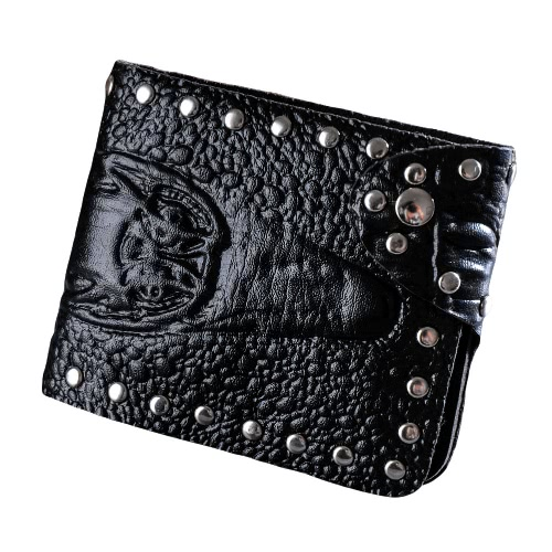 Buy Men Wallet PU Leather Crocodile Emboss Rivet Snap Button ID Credit Card Holder Case Cash Clip Black/Coffee/Brown