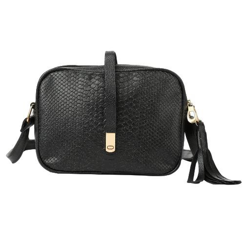 Buy Fashion Women Mini Crossbody Bags Soft PU Solid Color Fringed Tassels Casual Small Shoulder Messenger Bag Black/Khaki
