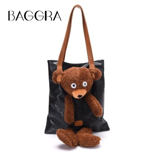 Buy Fashion Women Girls PU Shoulder Bag Plush Bear Cute Cartoon Toy Handbag Casual Tote Black/Gold/Silver