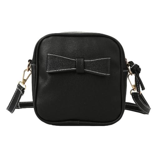 Buy Fashion Women Mini Crossbody Bags Soft PU Bow Solid Color Casual Small Shoulder Messenger Bag Black/Grey/Beige
