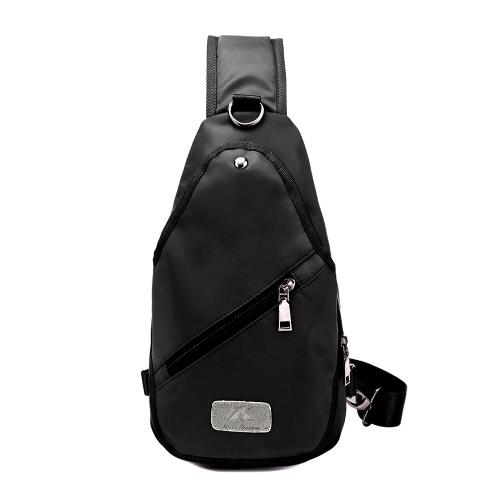 Buy Women Sling Bag Solid Color Waterproof Nylon Zipper Casual Outdoor Travel Sport Chest Crossbody