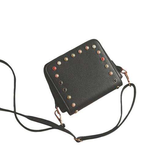 Buy Women Rivet Bag Messenger Beaded Shoulder PU Leather Girls Small Crossbody Handbag