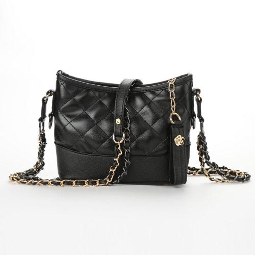 Buy Women PU Crossbody Bag Quilted Plaid Zipper Casual Elegant Shoulder Bags Black/White