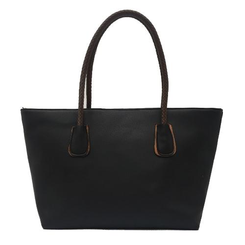 Buy Women PU Leather Handbag Large Capacity Zipper Casual Tote Shoulder Bag Black/Beige