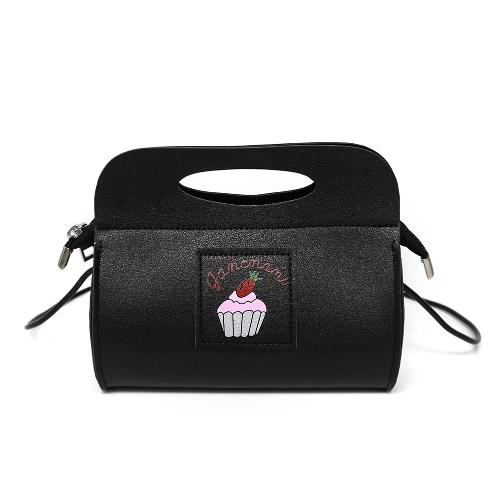 Buy Cute Women Shoulder Bag PU Leather Cake Print Pattern Casual Small Party Tote Handbag Black/White